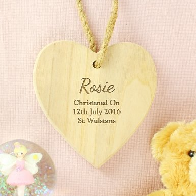 Personalised Any Message Chunky Wooden Heart Decoration