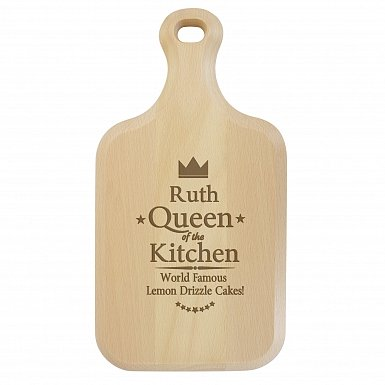 Personalised Queen of the Kitchen Large Paddle Chopping Board