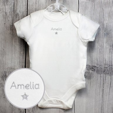 Personalised Silver Star 3-6 Months Baby Vest