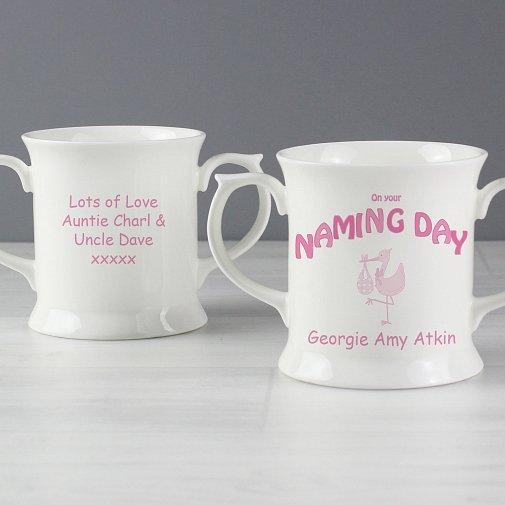 Personalised Stork Pink Naming Day Loving Mug