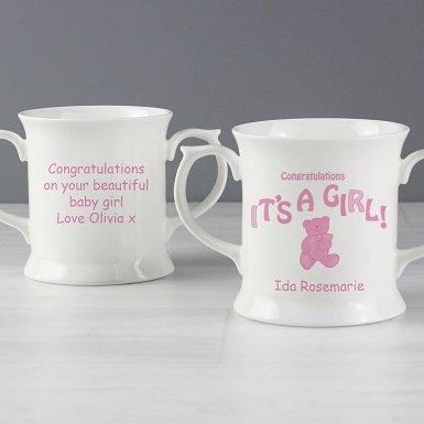 Personalised Teddy It's a Girl Lovng Mug