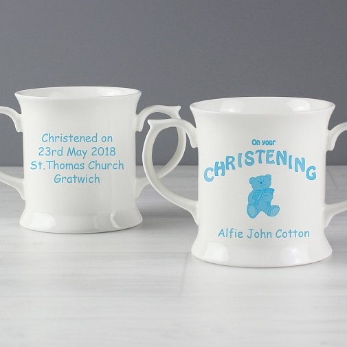 Personalised Teddy Blue Christening Loving Mug