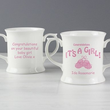 Personalised Bootee It's a Girl Loving Mug
