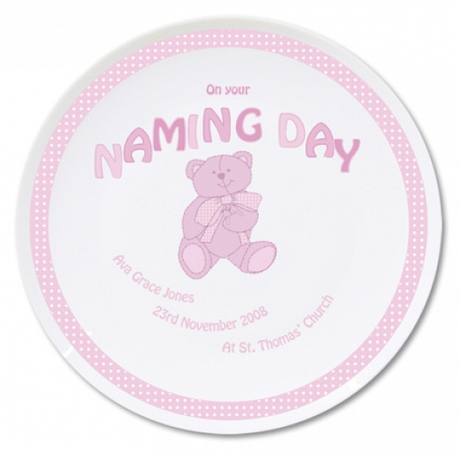 Personalised Teddy Pink Naming Day Plate