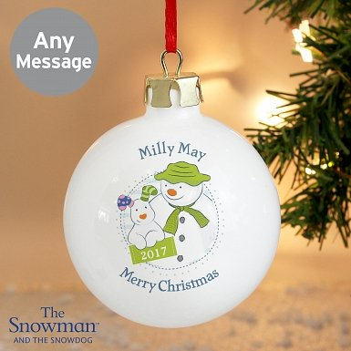 Personalised The Snowman and the Snowdog Year Bauble