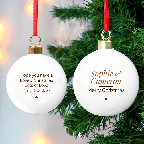 Personalised Classic Gold Star Christmas Bauble