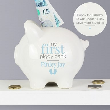Personalised Blue My First Piggy Bank