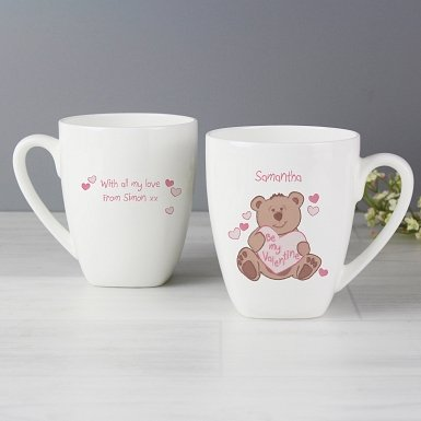 Personalised Be My Valentine Bear Latte Mug