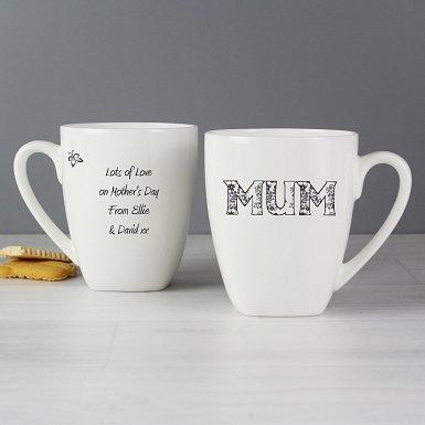 Personalised Flower Pattern Latte Mug