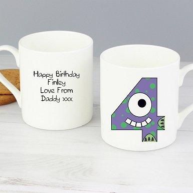 Personalised Monster Age Balmoral Mug - Age 4