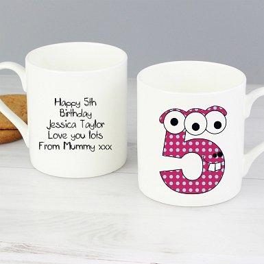 Personalised Monster Age Balmoral Mug - Age 5