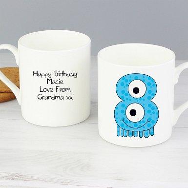 Personalised Monster Age Balmoral Mug - Age 8