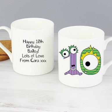 Personalised Monster Age Balmoral Mug - Age 10