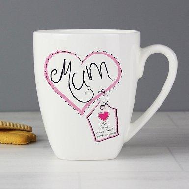 Personalised Heart Stitch Mum Latte Mug