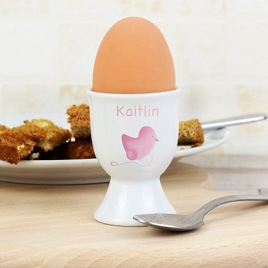 Personalised Pink chick Egg Cup