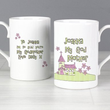 Personalised Whimsical Church Godmother Slim Mug