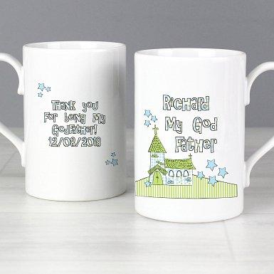 Personalised Whimsical Church God Father Slim Mug