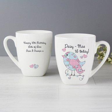 Personalised Floral Birds Latte Mug