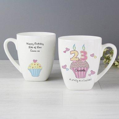 Personalised Cupcake Numbers Latte Mug