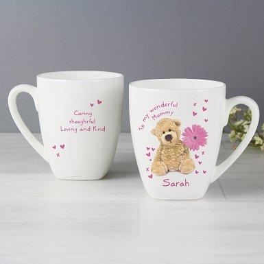 Personalised Teddy Flower Latte Mug