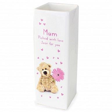 Personalised Teddy Flower White Square Vase
