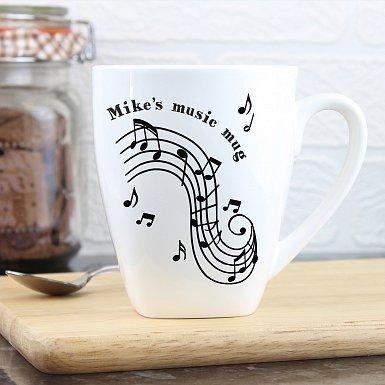 Personalised Musical Notes Latte Mug