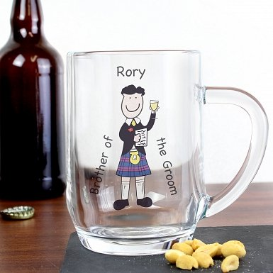 Personalised Scottish Cartoon Wedding Tankard