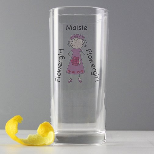 Personalised Cartoon Wedding Young Lady Hi Ball Glass