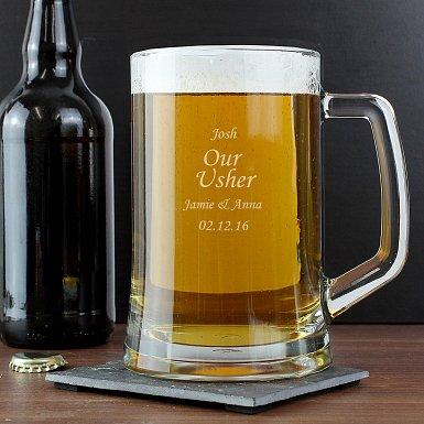 Engraved Personalised Glass Pint Stern Tankard