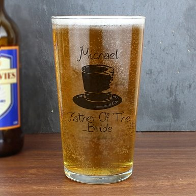 Personalised Wedding Top Hat Pint Glass