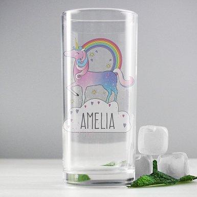 Personalised Unicorn Hi Ball Glass