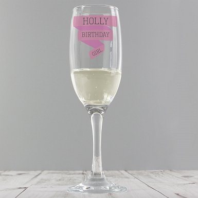 Personalised Pink Banner Glass Flute