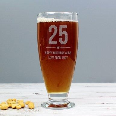 Personalised Big Age Craft Ale Beer Glass
