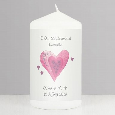 Personalised Hearts Candle