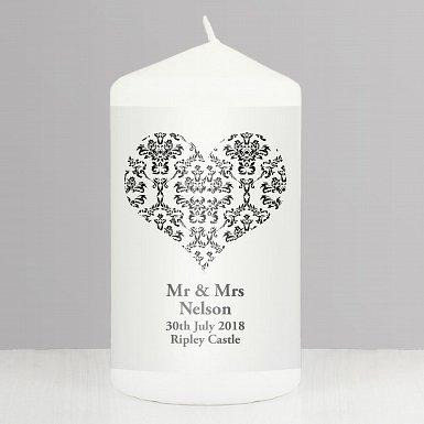 Personalised Black Damask Heart Candle