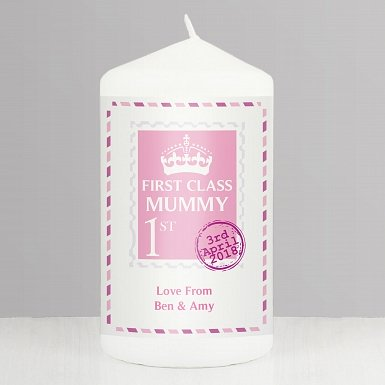 Personalised Pink 1st Class Candle