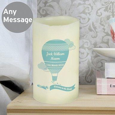 Personalised Up & Away Boys Nightlight LED Candle