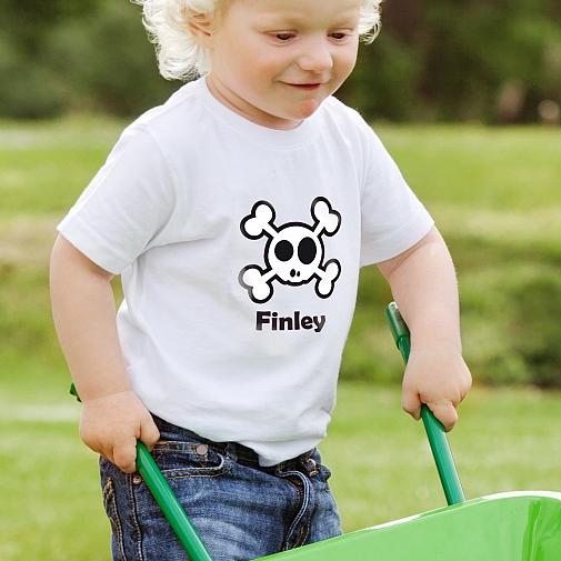 Personalised Boys Skull & Cross Bone Tshirt 2-3 years