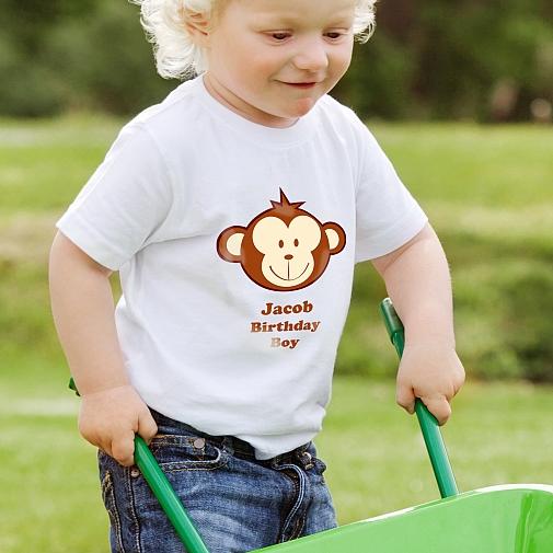 Personalised Monkey Boy Tshirt 3-4 years