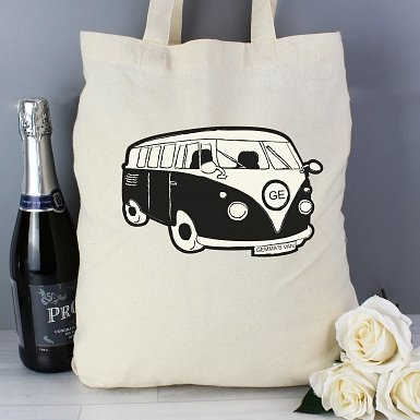 Personalised Black Campervan Cotton Bag