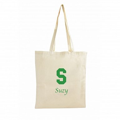 Personalised Green Initial Cotton Bag