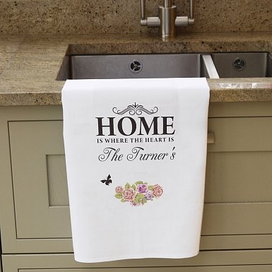 Personalised Shabby chick White Tea Towel
