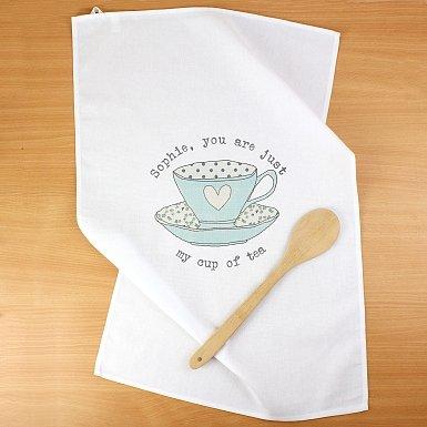 Personalised Vintage Tea cup White Tea Towel