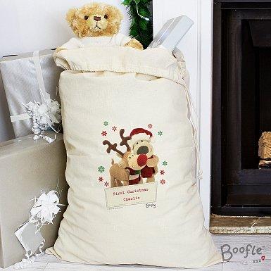 Personalised Boofle Christmas Reindeer Cotton Sack
