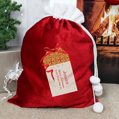 Personalised Luxury Present Pom Pom Sack