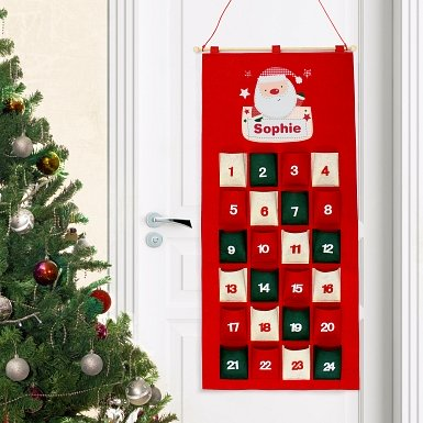Personalised Pocket Santa Felt Advent Calendar