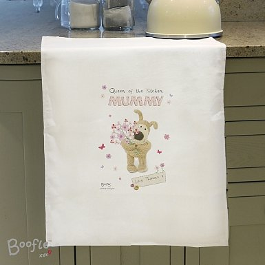 Personalised Boofle Flowers Tea Towel