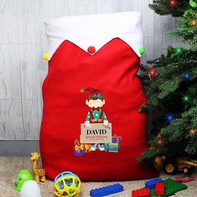 Personalised Christmas Elf Multicoloured Pom Pom Sack