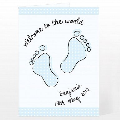 Personalised Blue Foot Print Card