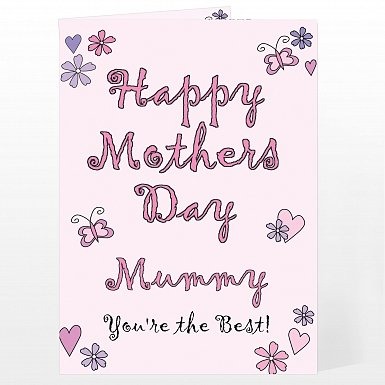 Personalised Flowers and Butterflies Happy Mother's Day Card